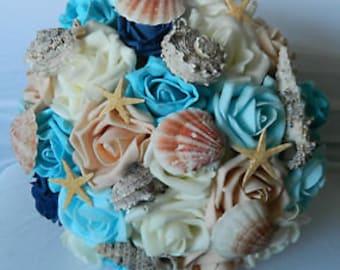 Stunning wedding flowers brides/Bridesmaids Sea shell/beach bouquet/buttonholes