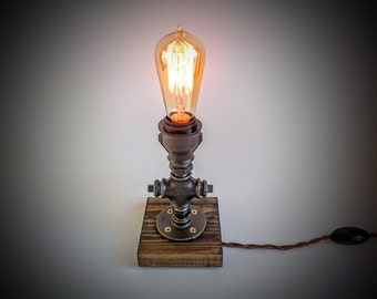 Bedroom table lamp, Plug in night light, Rustic table lamp, Table lamp, Steampunk lamp, Edison lamp, Industrial lighting, on dark grey base