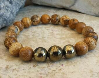 Large Natural Brown Jasper Stretch Bracelet