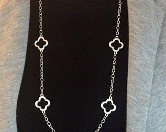 Silver clover necklace, Clover silver necklace, silver long necklace