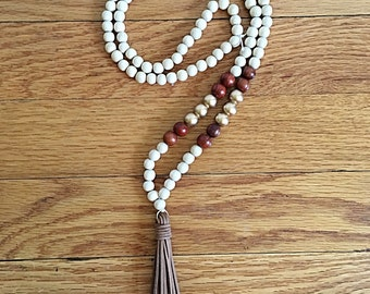 Gold, Brown, and Ivory Tassel Necklace with Brown Leather Tassel