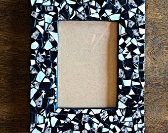 """Picture Frame, mosaic picture frame, black and white picture frame, black and white mosaic, handmade mosaic, upcycled, fits 5""""x7"""" picture"""
