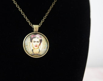 FRIDA KAHLO bronze glass cabochon pendant, Cute Necklace, Girly pendant, Girl power , feminist