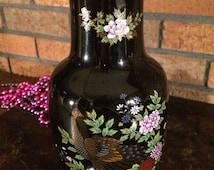 Vintage Imperial Kutani Flower Vase Japanese Peacock design