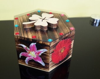 Handmade small wooden box, 3D flowers design small  keepsake box