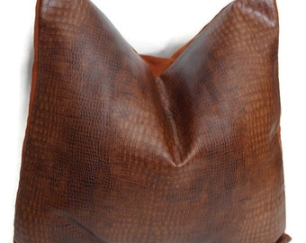 Brown Leather Accent Pillow Cover- Brown Decorative Pillow Cover- Faux Reptile Print Pillow Cover- Decorative Pillow Cover- Throw Pillows