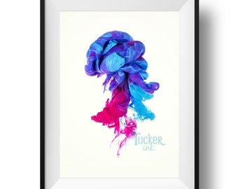 Underwater Ink Conceptual Photography - (Abstract, Modern, Home Decor, Colorful)