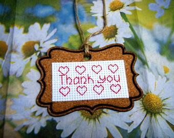 Cross Stitch Gift Cork Tag/Cross Stitch Thank You Cork Tag