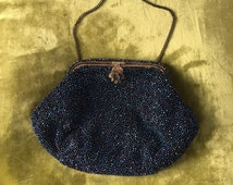 Vintage 1920's bag with blue beads