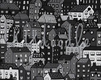 A4 Colour 'Houses' Doodle Print