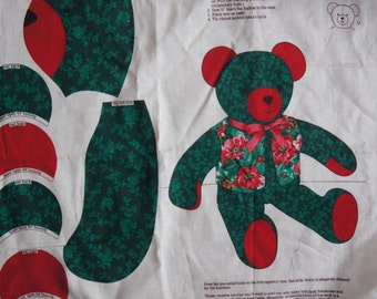 """Christmas Taperstry Teddy Bear Fabric Panel Very Special Bear V. I. P. Canston Print 35"""" X 44"""""""
