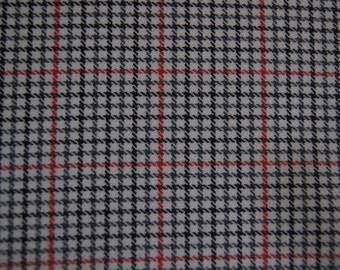 """2 yards Glen Plaid  Red  Black and White  Polyester  Fabric  """"72 X 60"""""""