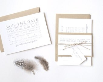 SAMANTHA Wedding Suite - SAMPLE - Wedding Invitation, Modern Wedding Invitation, White & Grey Wedding Invitations, Wedding Invites