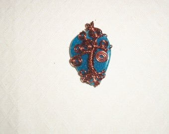 tree of life on fire agate with copper wire