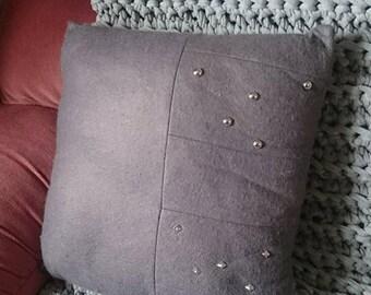 Wool Felt & Metal Stud Decorative Cushion