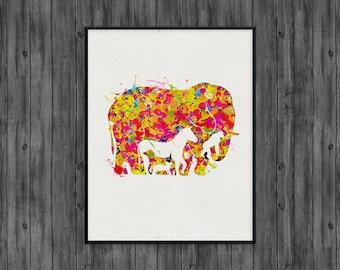 Elephant art print, elephant nursery, elephant wall decor, watercolor painting, elephant nursery art, elephant wall art, elephant gift print