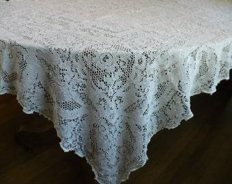 "Vintage Quaker Lace Table Cloth No 7720, ivory, 57"" x 41"""