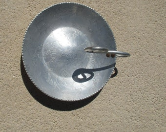 Vintage aluminum bowl with curled handle/jewelry, key holder