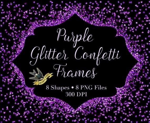 Purple Glitter Confetti Frames Digital Instant Download