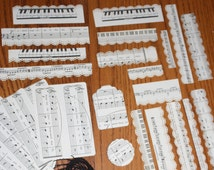Sheet Music Ephemera - 75 piece pack with  Paper tags, Music Lace Trim,  Scallops, Scores