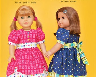 """ModKid - Mini Addison - Paper Sewing Pattern - for 18"""" doll's dress"""