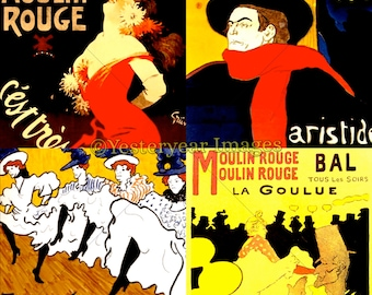 Vintage TOULOUSE-LAUTREC (1864-1901) Posters - Printable Digital Images - Collage Sheets - Instant Download - 3 PNG Files 4x4. 2x2. 1x1