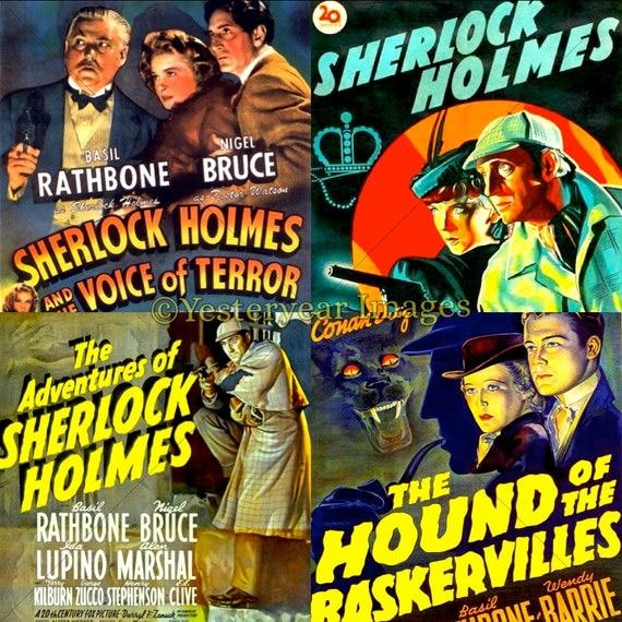 vintage sherlock holmes movie posters digital images. Black Bedroom Furniture Sets. Home Design Ideas