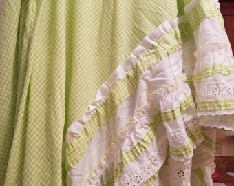 Vintage Twin Bed Skirt - Twin Bed Ruffle - Green White Bed Skirt - Ruffled Bed Skirt