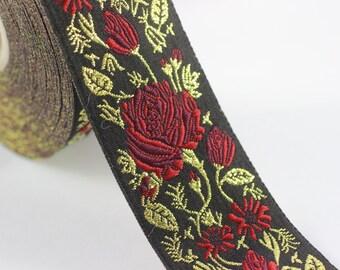 50 mm Red / Black Floral Jacquard trim (1.96 inches) - rose embroried Ribbon - Decorative Craft Ribbon - Jacquard - Jacquard Ribbon Trim