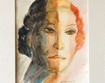 Grandma's Imagination watercolor painting by Miao Yeh, 14x11, portrait, portion of proceed supports Parkinson's research.
