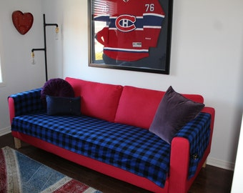 Sofa Cover with pockets, Lumberjack blue
