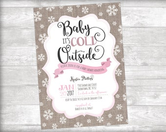 baby itu0027s cold outside burlap baby shower invitation printable