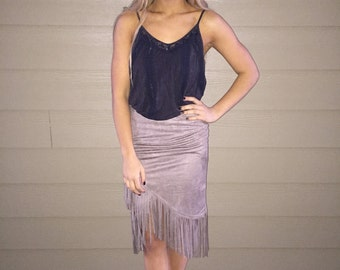 Suede fringe pencil skirt