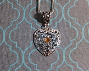 Heart Pendant with a Citrine Gem Stone in the Center with 925 Silver Chain