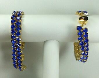 Sapphire Glitterati Bracelet - Swarovski Crystals, Magnetic Clasp, Gold Plate