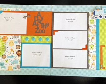 Day at the Zoo 12x12 Premade Scrapbook Layout, Zoo Layout, Premade Scrapbook Layout, 12x12 Scrapbook Pages Layout
