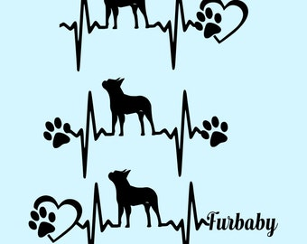 SVG Cut File Boston Terrier Heartbeat paw with heart- Scrapbook,  Tshirt Tote Silhouette PDF, Dxf