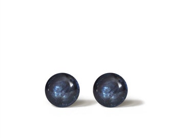 Stud Earrings Mini Tiny Metal Blue Shimmery 6 mm - Stainless Steel Gold Plated Posts plus High Quality Epoxy Resin Moon Line