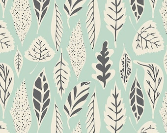 Art Gallery Fabric Leafs, Leaflet Eucalyptus, Mint and Gray Fabric, Leafs Fabric
