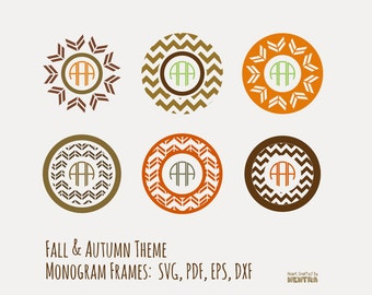 80% Off Sale Vector Fall Autumn Circle Monogram Frames, Instant Download Halloween Iron On Pattern Mocha SVG PDF For Commercial Use, No Font