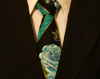 Floral Necktie, Floral Tie, Mens Necktie, Mens Tie, Black Necktie, Black Tie, Blue Necktie, Blue Tie, Asian Necktie, Asian Tie, Father, Dad