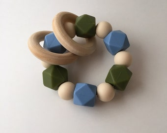 Powder Blue Army Green and Navajo Cream Silicone Teething Ring with wood rings