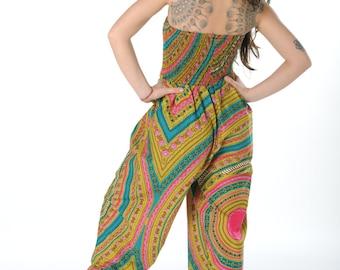 African Jumpsuit- Jaineba Jumpsuit - Colourful Romper - African Wax Print - Festival Fashion - Festival Jumpsuit - Wax Romper