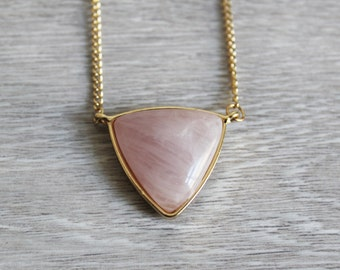 Geometric triangle necklace with Rose Quartz pendant