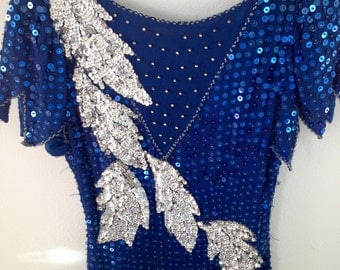 Stunning blue and silver sequined gown