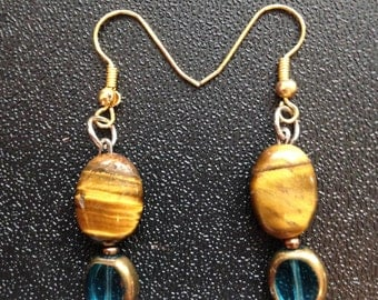 Tiger eye and blue/ gold dangling earrings