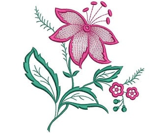 Flower Machine Embroidery Design, Flower Embroidery, Flower Digital Pattern, Floral Embroidery, Pink Flower, Instant Download