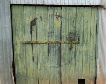Green Shed Doors. (card)