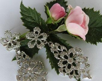 """Crystal Bridal Earrings """"Flower Droplets"""", Wedding Earrings, Bridesmaid Jewelry, Bride Earrings, Post Earrings, Dangle Earrings"""