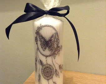 Hand printed dream catcher candle